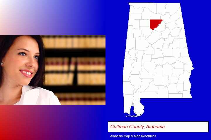 a young, female attorney in a law library; Cullman County, Alabama highlighted in red on a map