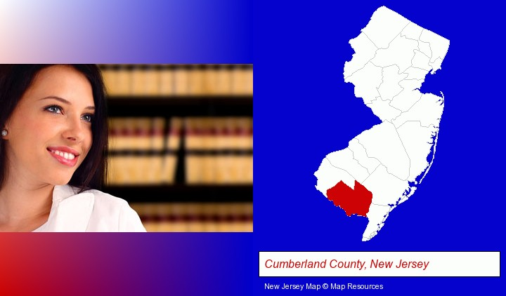 a young, female attorney in a law library; Cumberland County, New Jersey highlighted in red on a map