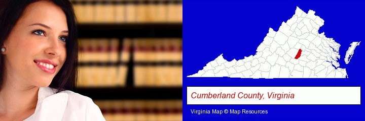 a young, female attorney in a law library; Cumberland County, Virginia highlighted in red on a map