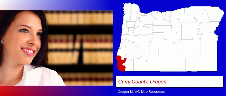 a young, female attorney in a law library; Curry County, Oregon highlighted in red on a map