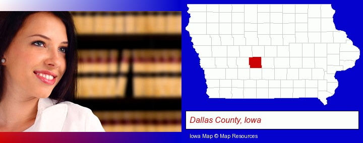 a young, female attorney in a law library; Dallas County, Iowa highlighted in red on a map