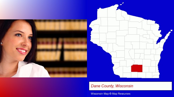 a young, female attorney in a law library; Dane County, Wisconsin highlighted in red on a map