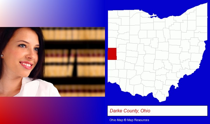 a young, female attorney in a law library; Darke County, Ohio highlighted in red on a map