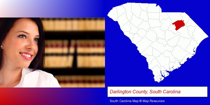 a young, female attorney in a law library; Darlington County, South Carolina highlighted in red on a map