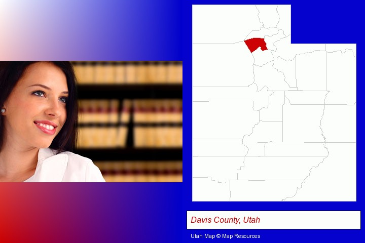 a young, female attorney in a law library; Davis County, Utah highlighted in red on a map