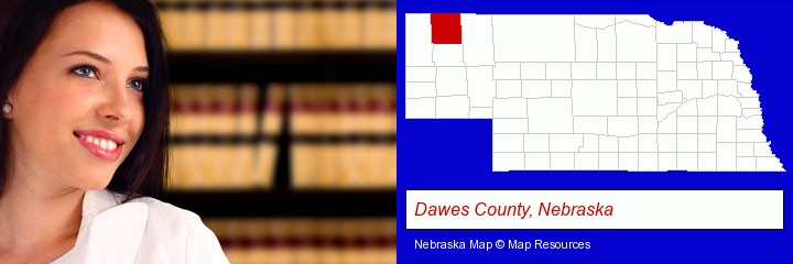 a young, female attorney in a law library; Dawes County, Nebraska highlighted in red on a map