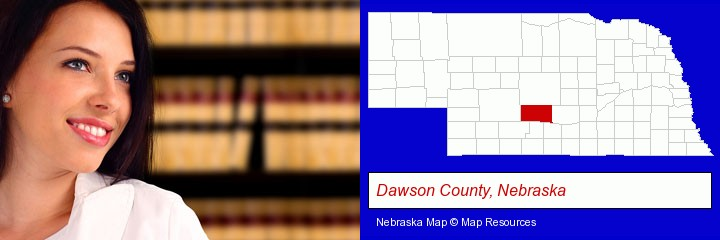a young, female attorney in a law library; Dawson County, Nebraska highlighted in red on a map