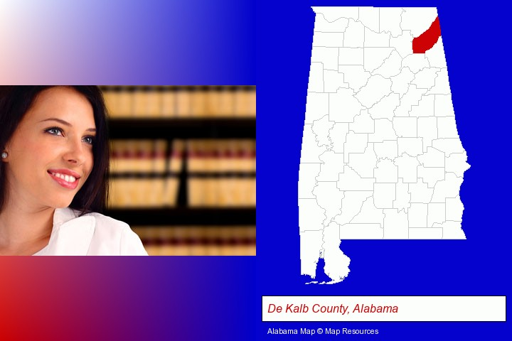 a young, female attorney in a law library; De Kalb County, Alabama highlighted in red on a map