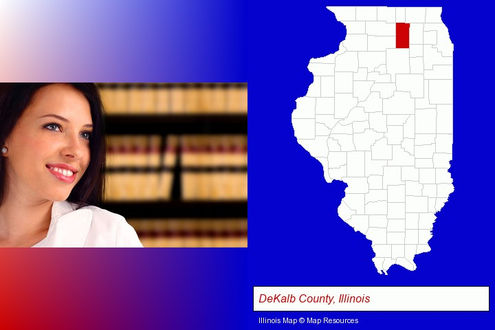 a young, female attorney in a law library; DeKalb County, Illinois highlighted in red on a map