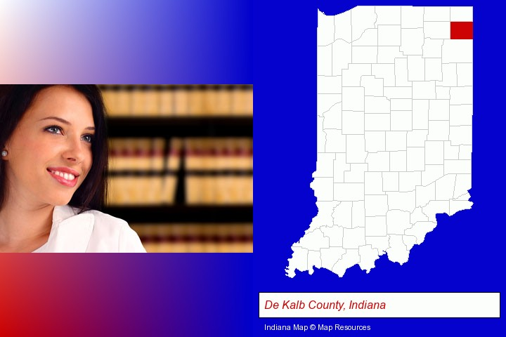 a young, female attorney in a law library; De Kalb County, Indiana highlighted in red on a map