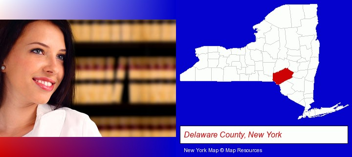 a young, female attorney in a law library; Delaware County, New York highlighted in red on a map