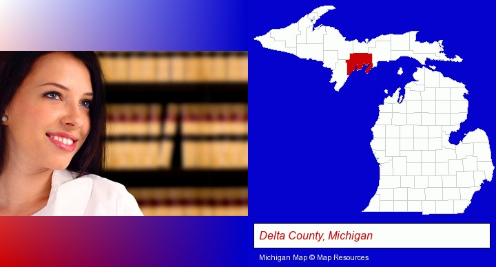 a young, female attorney in a law library; Delta County, Michigan highlighted in red on a map