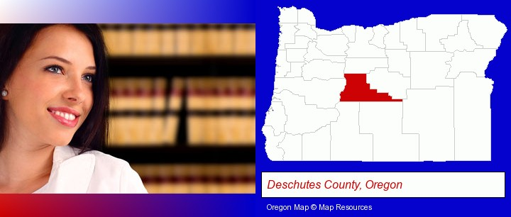 a young, female attorney in a law library; Deschutes County, Oregon highlighted in red on a map