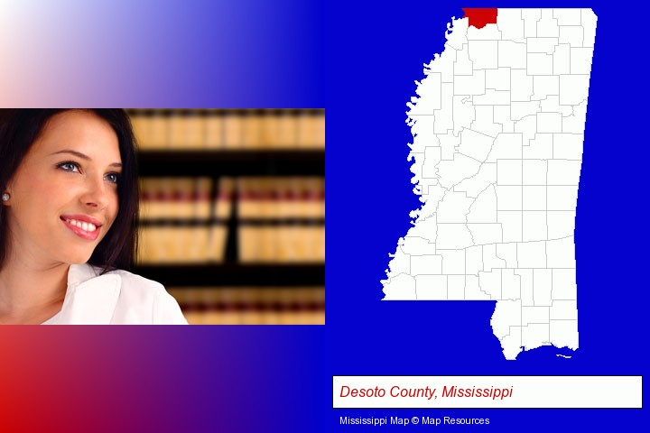 a young, female attorney in a law library; Desoto County, Mississippi highlighted in red on a map