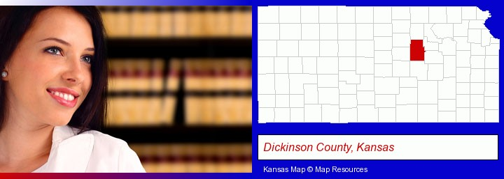 a young, female attorney in a law library; Dickinson County, Kansas highlighted in red on a map