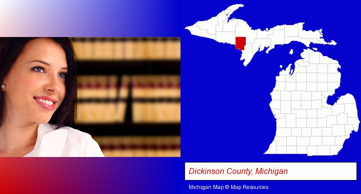a young, female attorney in a law library; Dickinson County, Michigan highlighted in red on a map