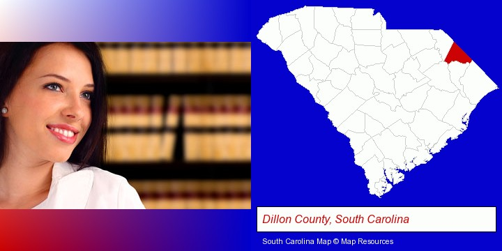 a young, female attorney in a law library; Dillon County, South Carolina highlighted in red on a map