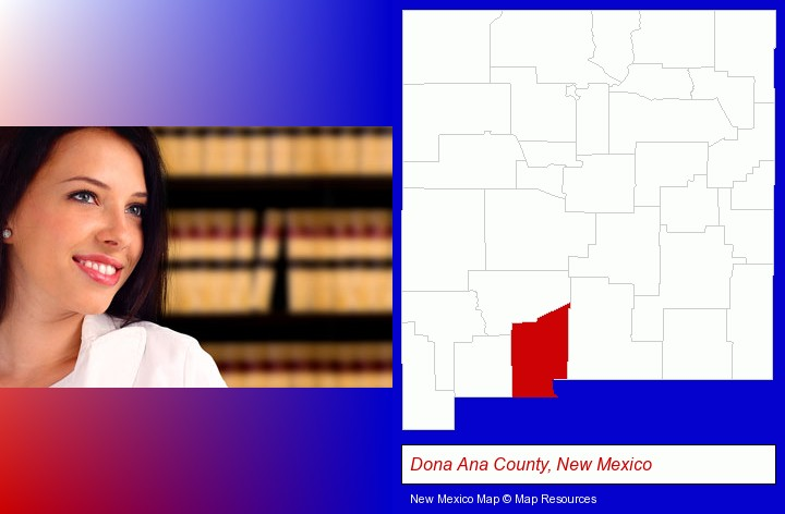 a young, female attorney in a law library; Dona Ana County, New Mexico highlighted in red on a map