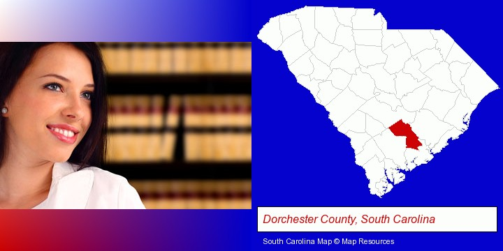 a young, female attorney in a law library; Dorchester County, South Carolina highlighted in red on a map