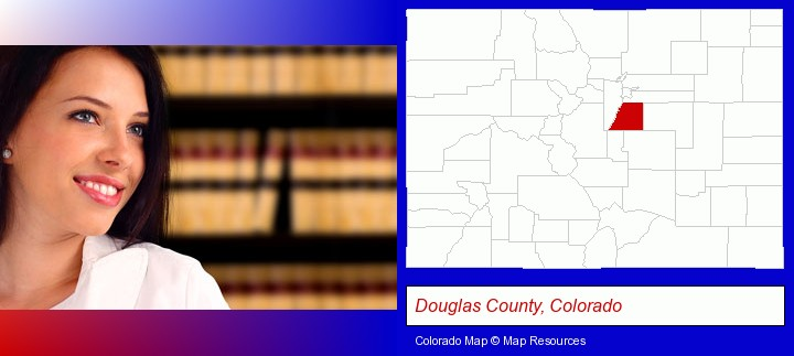 a young, female attorney in a law library; Douglas County, Colorado highlighted in red on a map