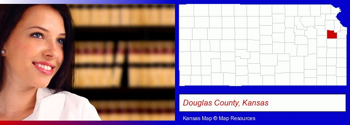 a young, female attorney in a law library; Douglas County, Kansas highlighted in red on a map