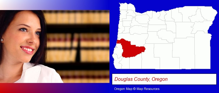 a young, female attorney in a law library; Douglas County, Oregon highlighted in red on a map