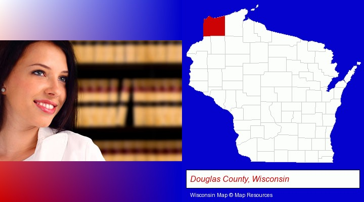 a young, female attorney in a law library; Douglas County, Wisconsin highlighted in red on a map