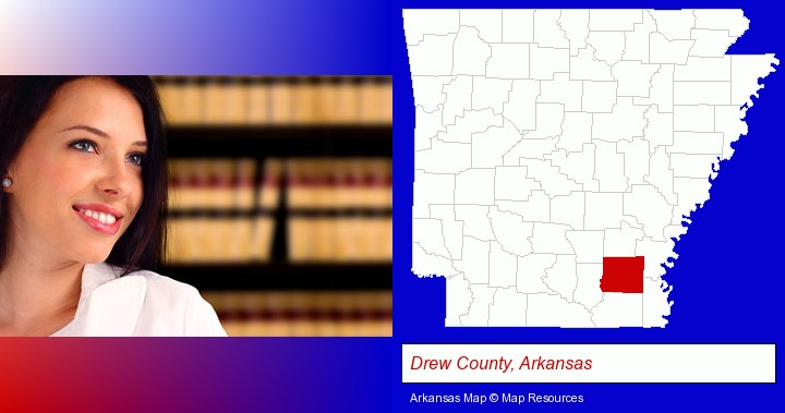 a young, female attorney in a law library; Drew County, Arkansas highlighted in red on a map