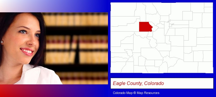 a young, female attorney in a law library; Eagle County, Colorado highlighted in red on a map
