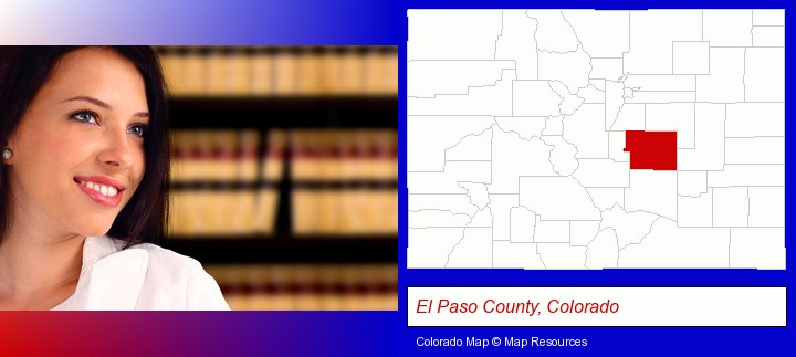 a young, female attorney in a law library; El Paso County, Colorado highlighted in red on a map