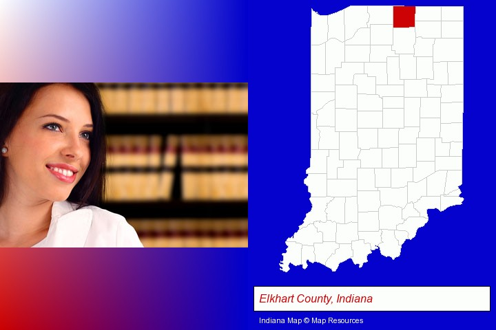 a young, female attorney in a law library; Elkhart County, Indiana highlighted in red on a map