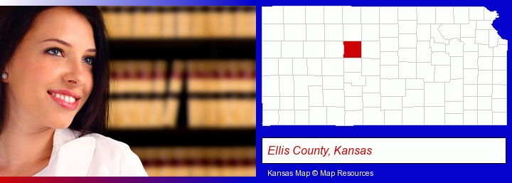 a young, female attorney in a law library; Ellis County, Kansas highlighted in red on a map