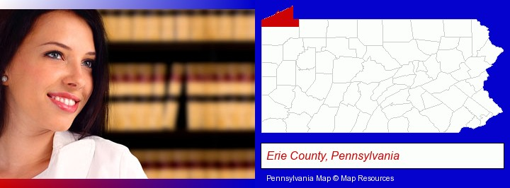 a young, female attorney in a law library; Erie County, Pennsylvania highlighted in red on a map