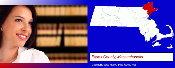 a young, female attorney in a law library; Essex County, Massachusetts highlighted in red on a map