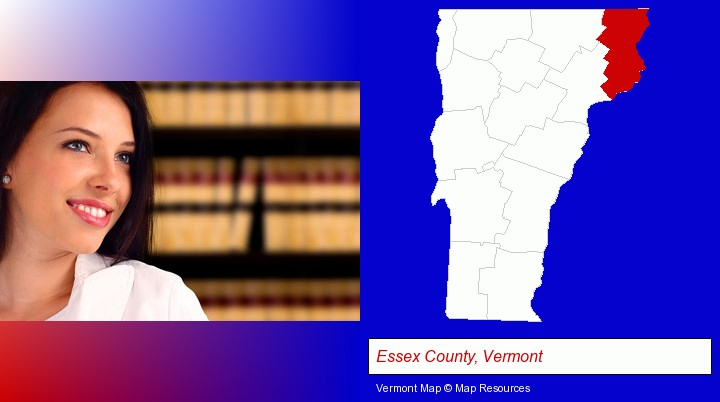 a young, female attorney in a law library; Essex County, Vermont highlighted in red on a map