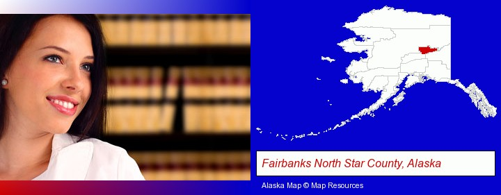a young, female attorney in a law library; Fairbanks North Star County, Alaska highlighted in red on a map