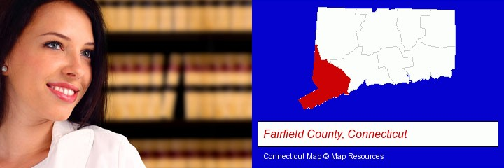 a young, female attorney in a law library; Fairfield County, Connecticut highlighted in red on a map