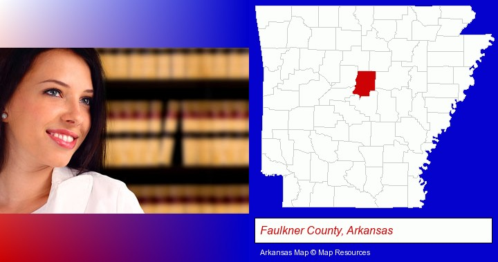 a young, female attorney in a law library; Faulkner County, Arkansas highlighted in red on a map