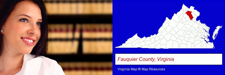 a young, female attorney in a law library; Fauquier County, Virginia highlighted in red on a map