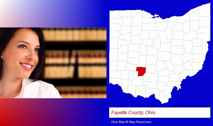 a young, female attorney in a law library; Fayette County, Ohio highlighted in red on a map