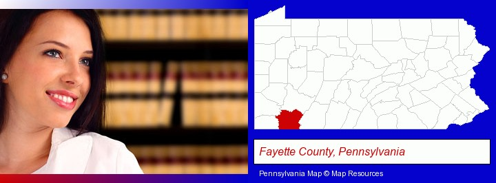 a young, female attorney in a law library; Fayette County, Pennsylvania highlighted in red on a map
