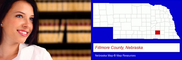 a young, female attorney in a law library; Fillmore County, Nebraska highlighted in red on a map