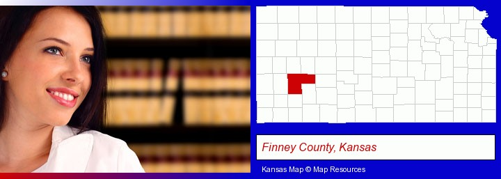 a young, female attorney in a law library; Finney County, Kansas highlighted in red on a map