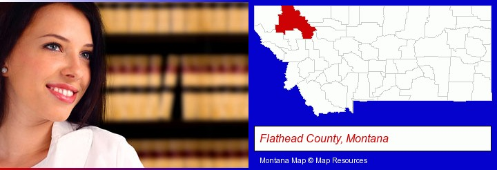 a young, female attorney in a law library; Flathead County, Montana highlighted in red on a map