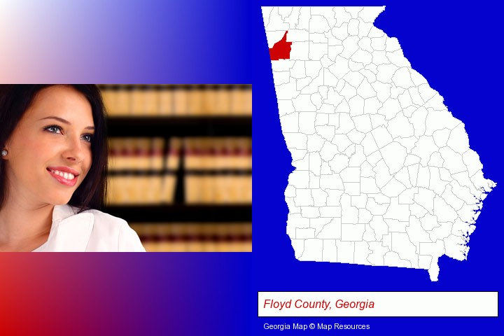 a young, female attorney in a law library; Floyd County, Georgia highlighted in red on a map