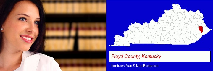 a young, female attorney in a law library; Floyd County, Kentucky highlighted in red on a map