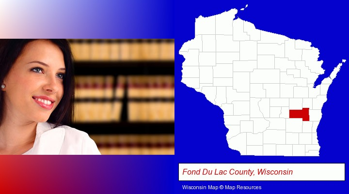 a young, female attorney in a law library; Fond Du Lac County, Wisconsin highlighted in red on a map