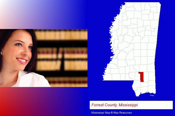 a young, female attorney in a law library; Forrest County, Mississippi highlighted in red on a map