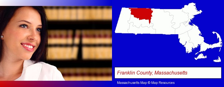 a young, female attorney in a law library; Franklin County, Massachusetts highlighted in red on a map