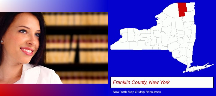 a young, female attorney in a law library; Franklin County, New York highlighted in red on a map